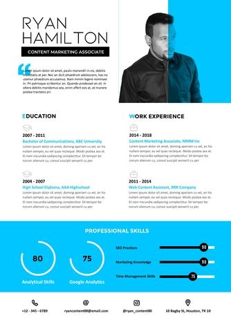 영문 이력서 (Content Marketing Associate(Marketing) resume) - 섬네일 1page
