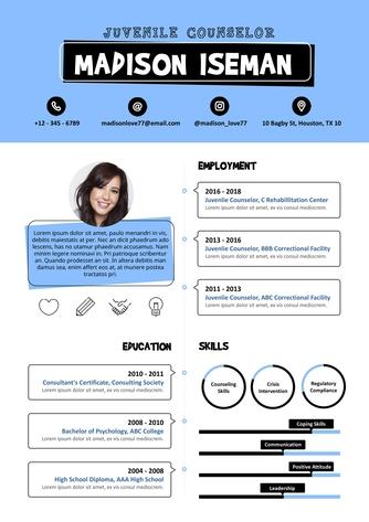 영문 이력서 (Juvenile Counselor resume) - 섬네일 1page