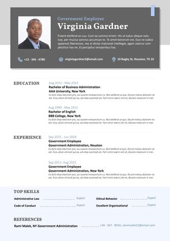 영문 이력서 (Government Employee resume) - 섬네일 1page