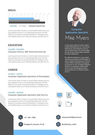 영문 이력서 (Computer Application Specialist(IT) resume) - 섬네일 1page