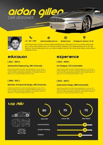 영문 이력서 (Car Designer(Design) resume) - 섬네일 1page