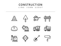 건축 라인 아이콘 3종세트