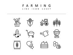 농업 라인 아이콘 3종세트