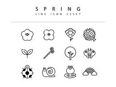봄 라인 아이콘 3종세트
