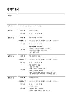 경력기술서(기술개발팀/상세예문기재)