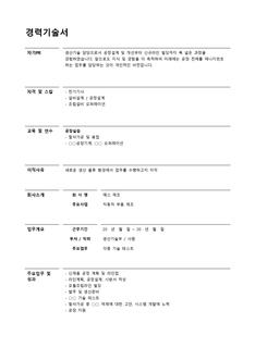 경력기술서(부품제조업/생산기술)