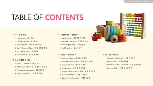 [2021년] 아동용품 도소매업 자금조달용 사업계획서 - 섬네일 2page