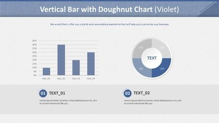 세로 막대형 & 도넛형 혼합 차트 (보라 배경)