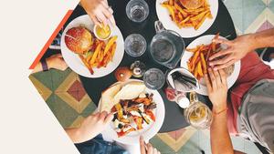 피자 & 햄버거 (패스트푸드) 피피티 배경 - 와이드