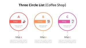 3 Circle 목록형 다이어그램 (Coffee Shop)