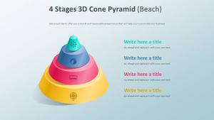4 Stages 3D 콘 피라미드 다이어그램 (해변)