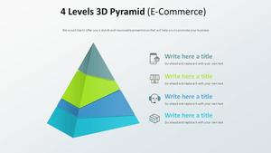 4 Levels 3D 피라미드 다이어그램 (전자상거래)