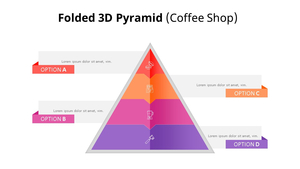 접힌 3D 피라미드 다이어그램 (Coffee Shop)