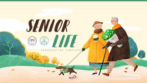 노후생활 (Senior Life) 일러스트 배경템플릿