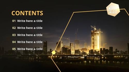 야간 건설 공사 (건축) PPT 배경템플릿 - 섬네일 2page