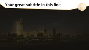 야간 건설 공사 (건축) PPT 배경템플릿