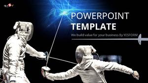 펜싱 (스포츠) Powerpoint 배경 - 와이드