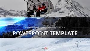 겨울 레저스포츠 (스키) PPT 배경 템플릿