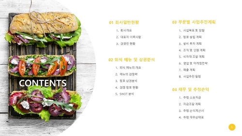 (샌드위치 전문점) 음식업점 창업 사업계획서 - 섬네일 2page