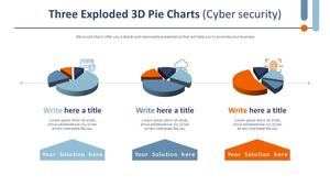 분리된 Three 3D 원형 차트 (사이버보안)