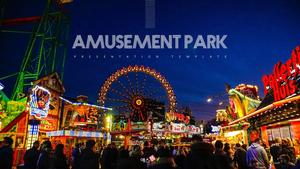 놀이공원 (야간) 파워포인트 배경 디자인 - 와이드
