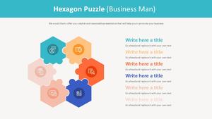 육각형 Puzzle 다이어그램 (비즈니스맨)