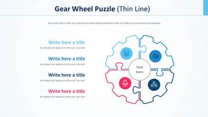 기어 휠모양 퍼즐 Smart Art (얇은선)