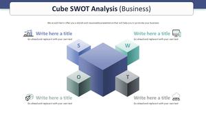 큐브 SWOT 분석 다이어그램 (비즈니스)