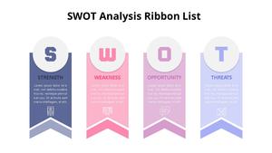 리본 SWOT List Diagram