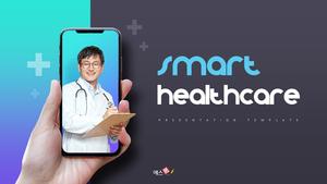스마트 헬스케어 기술 PPT 템플릿 (의학, 첨단)