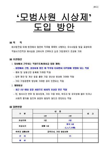 모범사원 시상제 도입 방안 검토 규정