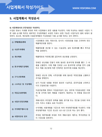 사업계획서 작성가이드 - 섬네일 13page