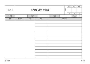 부서별 업무분장표