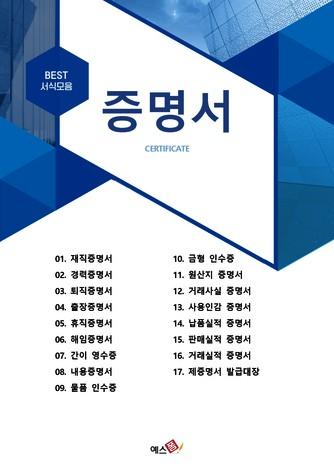 증명서 베스트 서식 - 섬네일 1page