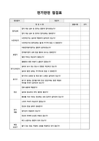 점검표 베스트 서식 - 섬네일 10page