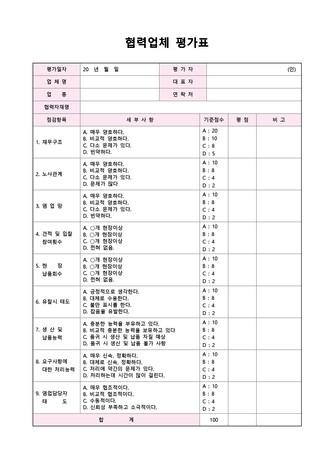 평가표 베스트 서식 - 섬네일 15page