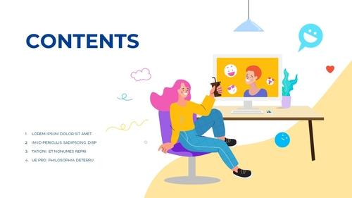 소셜미디어 모바일 컨셉 (Social Media on Mobile) 템플릿 - 섬네일 2page