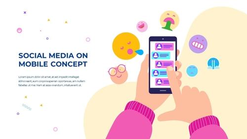 소셜미디어 모바일 컨셉 (Social Media on Mobile) 템플릿 - 섬네일 22page