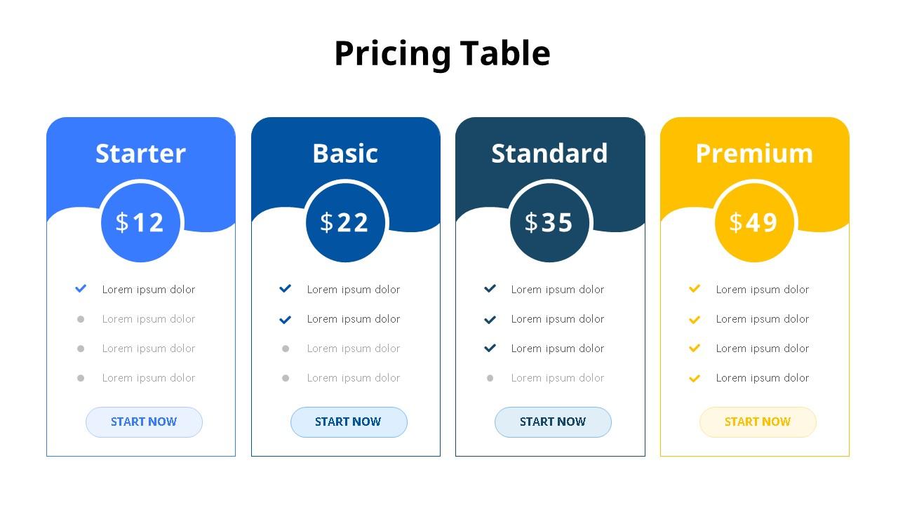 Pricing Table 다이어그램-미리보기