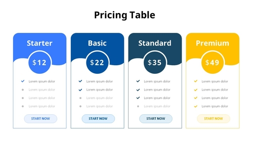 Pricing Table 다이어그램 - 섬네일 1page