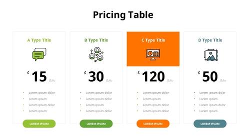 Pricing Table 아이콘 다이어그램 - 섬네일 1page
