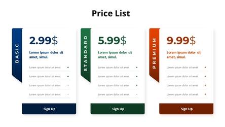 가격표 리스트 Diagram