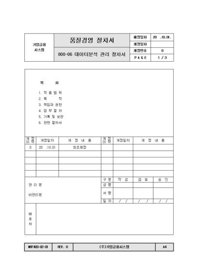 [절차서] 데이터분석 관리
